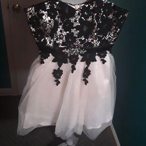 Black champagne crochet dress